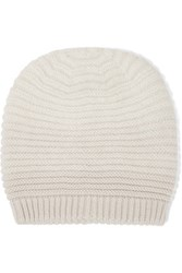 Duffy Ribbed Merino Wool Blend Beanie Off White