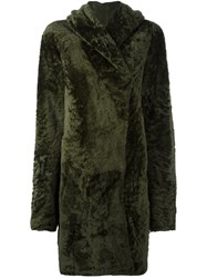 Sylvie Schimmel Hooded Shearling Coat Green