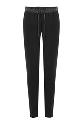 Michael Kors Collection Wool Sweatpants With Faux Leather Black