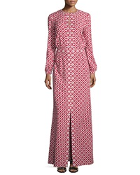 Tory Burch Long Sleeve Textured Maxi Caftan Red White