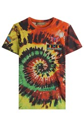 Valentino Tie Dye Printed Cotton T Shirt With Embellishment Multicolor