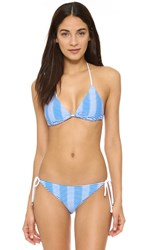 Shoshanna Textured Stripe Clean Triangle Bikini Top Blue White