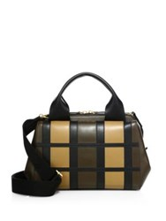 Marni Madleine Check Patchwork Leather Satchel Wenge Cork