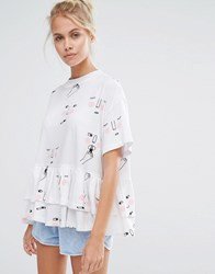 Lazy Oaf High Neck Oversized Tee With Frill Hem And Face Sketches White