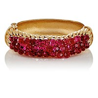 Stazia Loren Women's Fuschia Diamante Hinged Bangle Gold