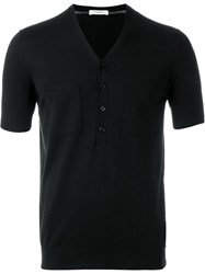 Paolo Pecora Buttonned Collar T Shirt Black
