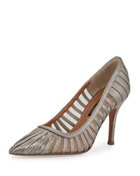 Kay Unger Preena Strappy Leather Mesh Pump Platinum White