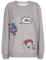 Mira Mikati Grey Jersey Patch Applique Sweatshirt
