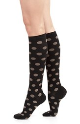 Women's Vim And Vigr Polka Dot Compression Knee Socks Black Brown