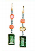 Irene Neuwirth One Of A Kind 18K Rose And White Gold Earrings Set With Green And Pink Tourmaline 35.61Cts Cultured Pearls 5.07Cts Opal 1.63Cts And Full Cut Diamond 1.28Cts On Pave Hooks 0.03Cts