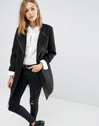 Jdy J.D.Y Wrap Coat With Leather Look Trim Black