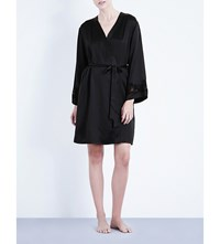 Nk Imode Morgan Stretch Lace And Silk Satin Robe Black Black Lace