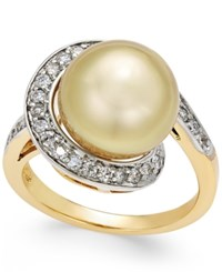 Macy's Cultured Golden South Sea Pearl 11Mm And Diamond 3 8 Ct. T.W. Swirl Ring In 14K Gold