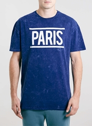 Topman Paris Acid Wash Skater T Shirt Blue