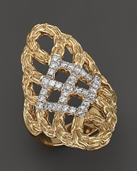 John Hardy Classic Chain 18K Yellow Gold Diamond Pave Woven Braided Saddle Ring