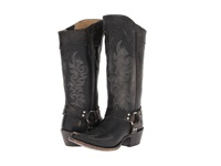 Frye Lily Harness Tall Black Stone Wash Cowboy Boots