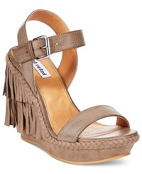 Naughty Monkey Not Rated Roaring Ruby Fringe Wedge Sandals Women's Shoes Taupe