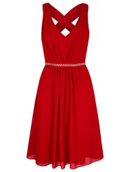 Yumi Midi Party Dress With Diamantes Red