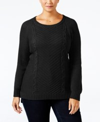 Ny Collection Plus Size Cable Knit Sweater Black
