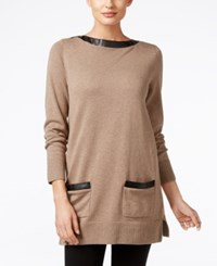 Jeanne Pierre Faux Leather Trim Tunic Sweater Taupe Heather