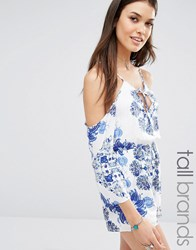 Missguided Tall Cold Shoulder Floral Playsuit White Blue
