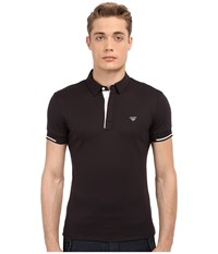 Armani Jeans Contrast Piping Polo Blue