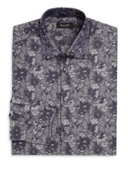 Sand Regular Fit Floral Paisley Dress Shirt Navy