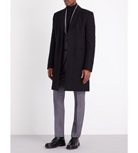 Paul Smith Padded Single Breasted Wool Coat Black