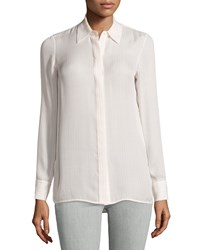 Vince Striped Long Sleeve Silk Blouse Off White