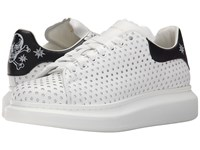 Alexander Mcqueen Star Perforated Platform Sneaker White Black Men's Shoes