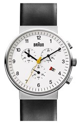 Men's Braun 'Classic' Chronograph Leather Strap Watch 40Mm