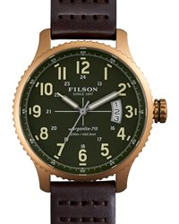 43Mm Mackinaw Field Brass Watch With Leather Strap Brown Green Filson Silver