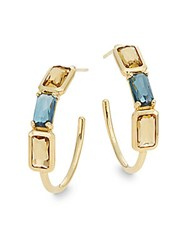 Ippolita Rock Candy Cognac Citrine London Blue Topaz And 18K Yellow Gold Gelato Hoop Earrings 1