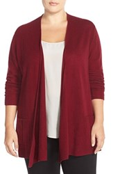 Plus Size Women's Sejour Wool And Cashmere Open Front Cardigan Burgundy Field