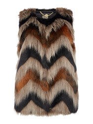 Biba Carved Faux Fur Gilet Multi Coloured Multi Coloured