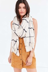 Urban Outfitters Flannel Plaid Frayed Scarf Ivory