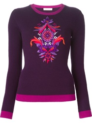Matthew Williamson Embroidered Flower Sweater Pink And Purple
