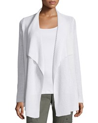 Eileen Fisher Ribbed Drape Front Cardigan Women's White