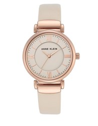Anne Klein Stainless Steel Crystal Studded Dial Leather Strap Watch Beige