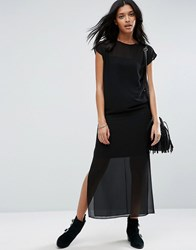 Asos Sheer T Shirt Maxi Dress With Side Splits Black