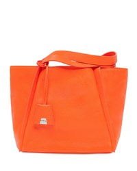 Alex Small Leather Tote Bag Orange Akris
