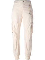 Twin Set Jeans Embellished Cargo Trousers Pink And Purple
