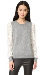 Rebecca Taylor Lace Sleeve Pullover Silver Heather Grey Chalk