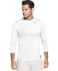 Nike T Shirt Pro Combat Dri Fit Fitted Long Sleeve Tee White