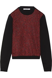 Carven Lace Paneled Cotton Jersey Top Black