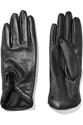 Karl Lagerfeld Zip Trimmed Leather Gloves Black