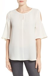 Pleione Women's Cold Shoulder Bell Sleeve Top Ivory