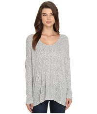 Culture Phit Zula Round Neck Waffle Top Heather Grey Women's Clothing Gray