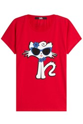 Karl Lagerfeld Choupette On The Beach Cotton T Shirt Red