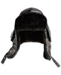 Sean John Faux Leather And Faux Fur Lined Trapper Hat